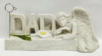 Reusable  GUARDIAN ANGEL with LILY Graveside Memorial CARD FRAME HOLDER GSH05 - DAD
